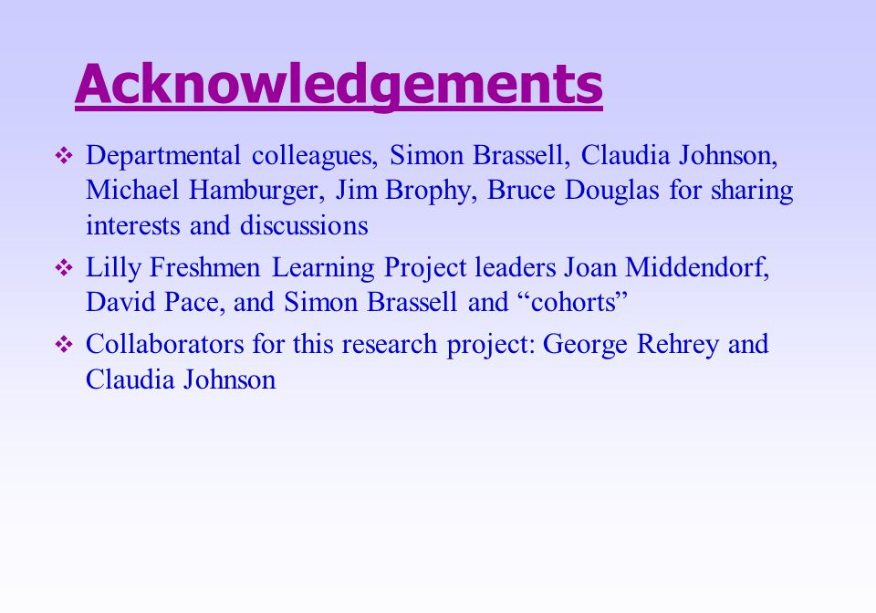 Acknowledgements  Departmental colleagues, Simon Brassell, Claudia Johnson, Michael Hamburger, Jim Brophy, Bruce Douglas for sharing interests and di