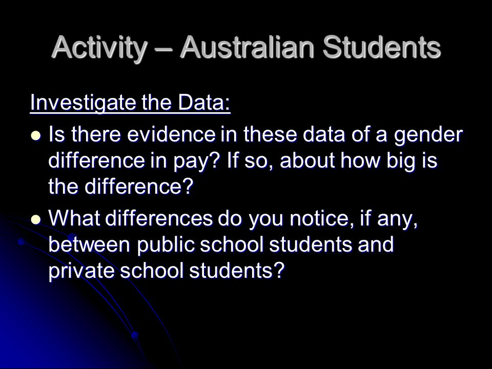 Activity – Australian Students Investigate the Data: Is there evidence in these data of a gender difference in pay.