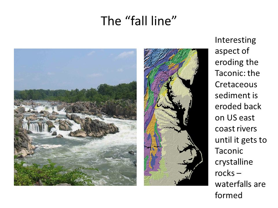 "The ""fall line"" Interesting aspect of eroding the Taconic: the Cretaceous sediment is eroded back on US east coast rivers until it gets to Taconic cry"