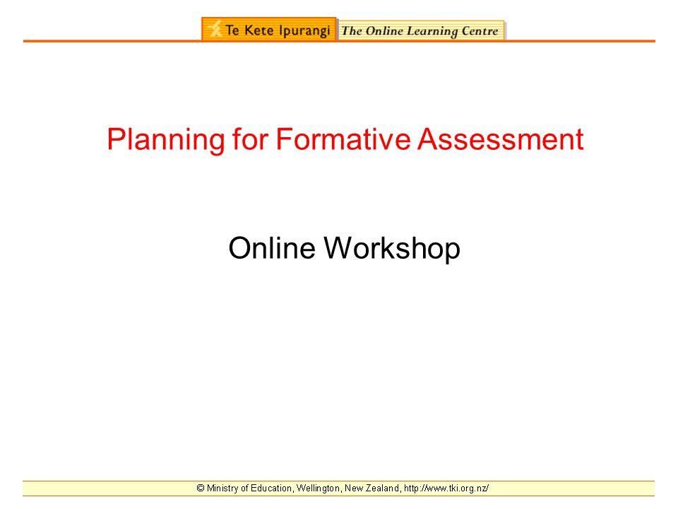 Planning for Formative Assessment Online Workshop