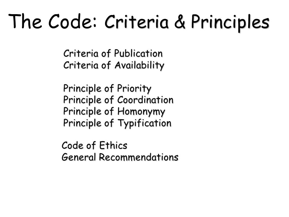 The Code: Criteria & Principles Criteria of Publication Criteria of Availability Principle of Priority Principle of Coordination Principle of Homonymy Principle of Typification Code of Ethics General Recommendations