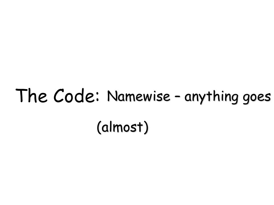 The Code: Namewise – anything goes (almost)