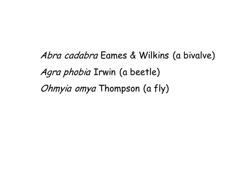 Abra cadabra Eames & Wilkins (a bivalve) Agra phobia Irwin (a beetle) Ohmyia omya Thompson (a fly)