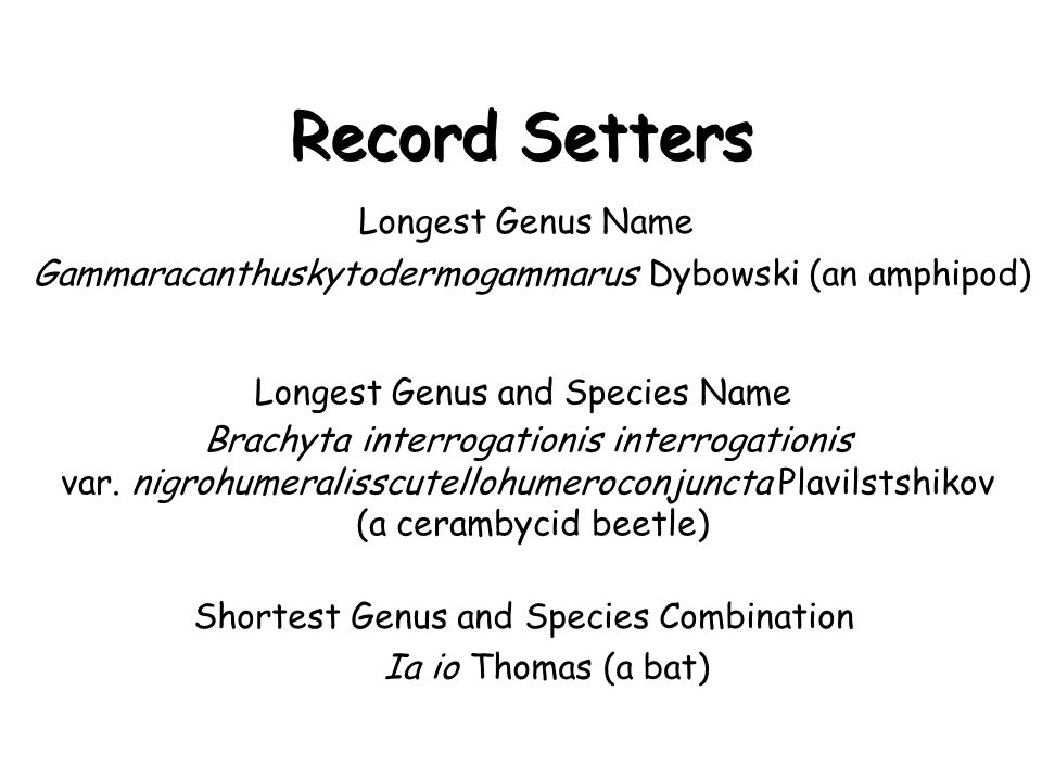 Record Setters Longest Genus Name Gammaracanthuskytodermogammarus Dybowski (an amphipod) Longest Genus and Species Name Brachyta interrogationis interrogationis var.