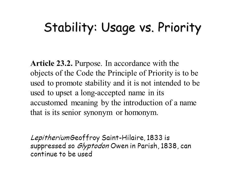 Stability: Usage vs. Priority Article 23.2. Purpose.