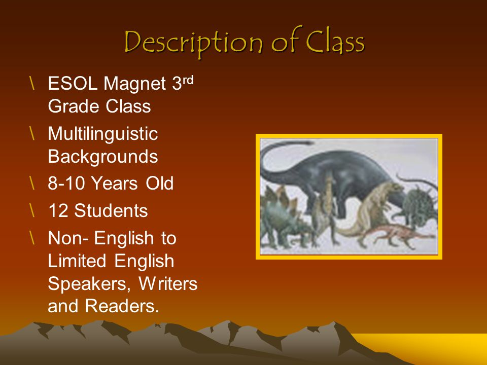 Description of Class \ESOL Magnet 3 rd Grade Class \Multilinguistic Backgrounds \8-10 Years Old \12 Students \Non- English to Limited English Speakers