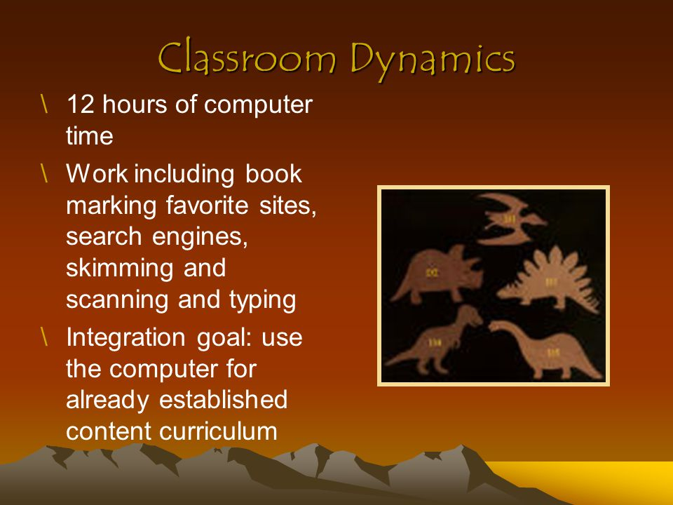 Materials \7 I-Mac notebooks with internet capability \Zak's Wordgames Software \1 Macintosh classroom computer \Books on Dinosaurs from the library \Handouts \Blackboard \Pencils, paper, crayons