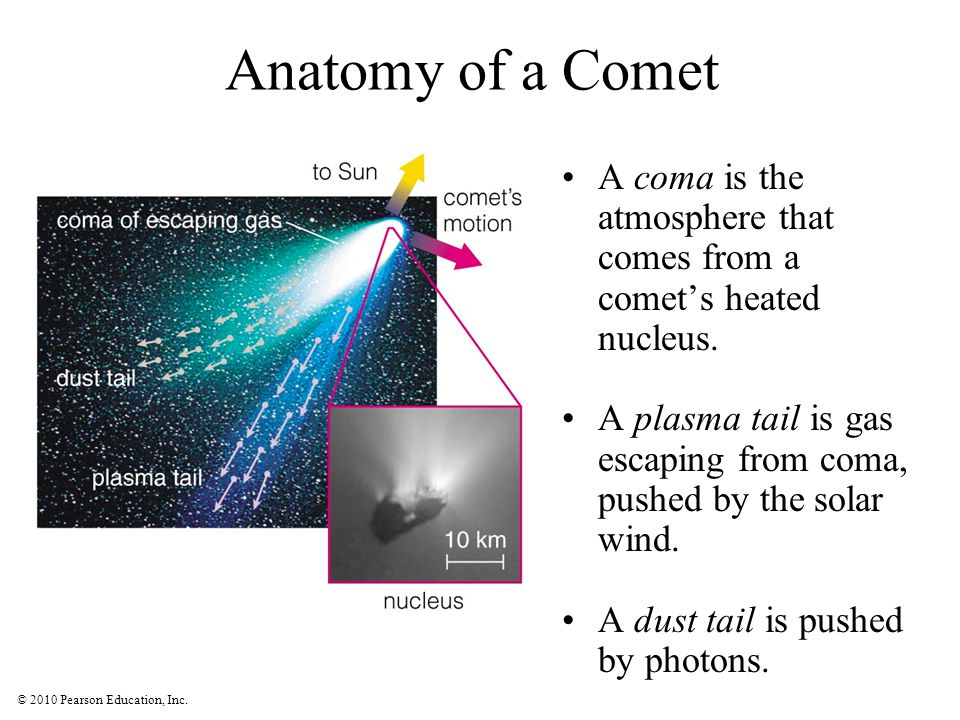 © 2010 Pearson Education, Inc. Anatomy of a Comet A coma is the atmosphere that comes from a comet's heated nucleus. A plasma tail is gas escaping fro