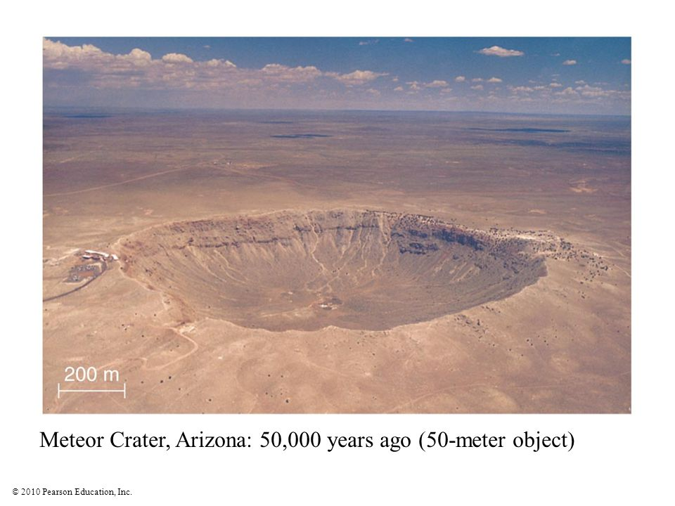 © 2010 Pearson Education, Inc. Meteor Crater, Arizona: 50,000 years ago (50-meter object)