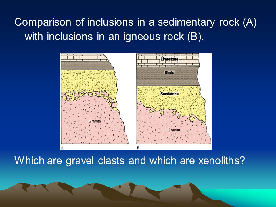 Comparison of inclusions in a sedimentary rock (A) with inclusions in an igneous rock (B). Which are gravel clasts and which are xenoliths?