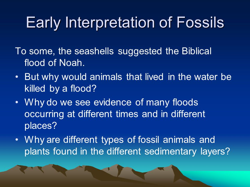 Early Interpretation of Fossils To some, the seashells suggested the Biblical flood of Noah. But why would animals that lived in the water be killed b