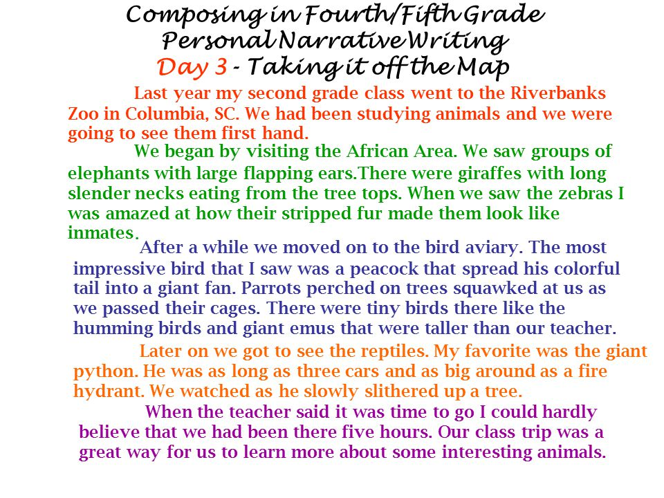 Composing in Fourth/Fifth Grade Personal Narrative Writing Day 3- Taking it off the Map Last year my second grade class went to the Riverbanks Zoo in