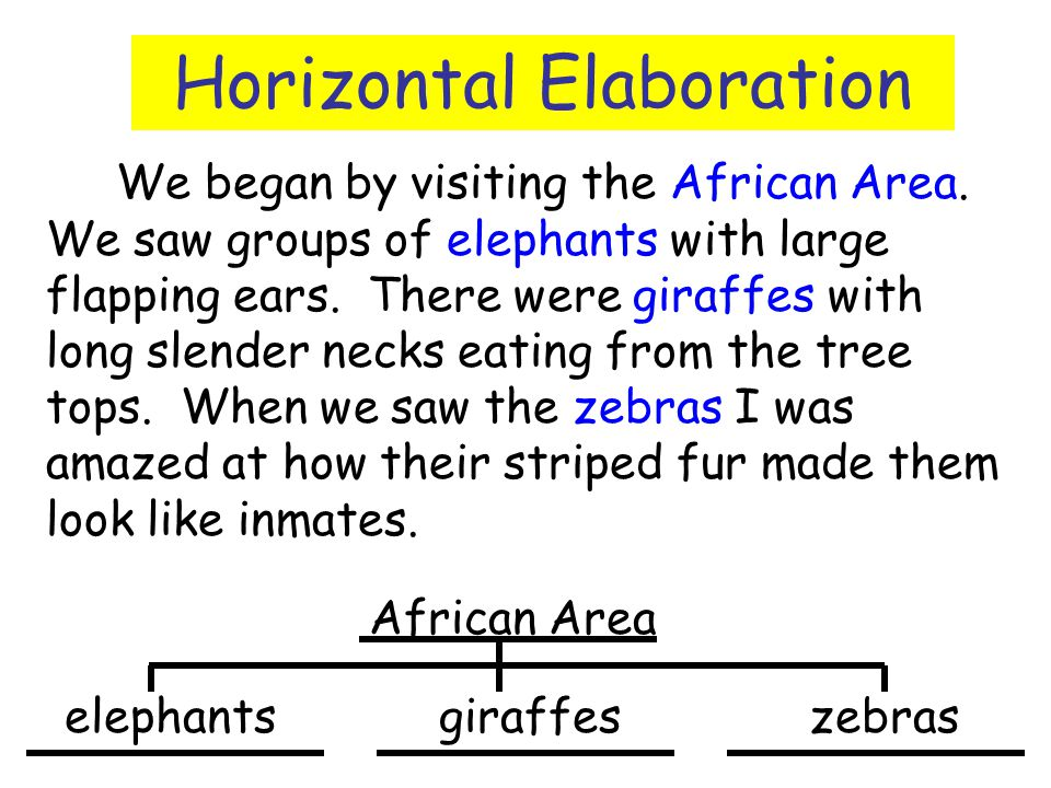 Horizontal Elaboration We began by visiting the African Area. We saw groups of elephants with large flapping ears. There were giraffes with long slend