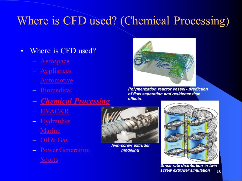 10 Where is CFD used? (Chemical Processing) Where is CFD used? –AerospaceAerospace –AppliancesAppliances –AutomotiveAutomotive –BiomedicalBiomedical –