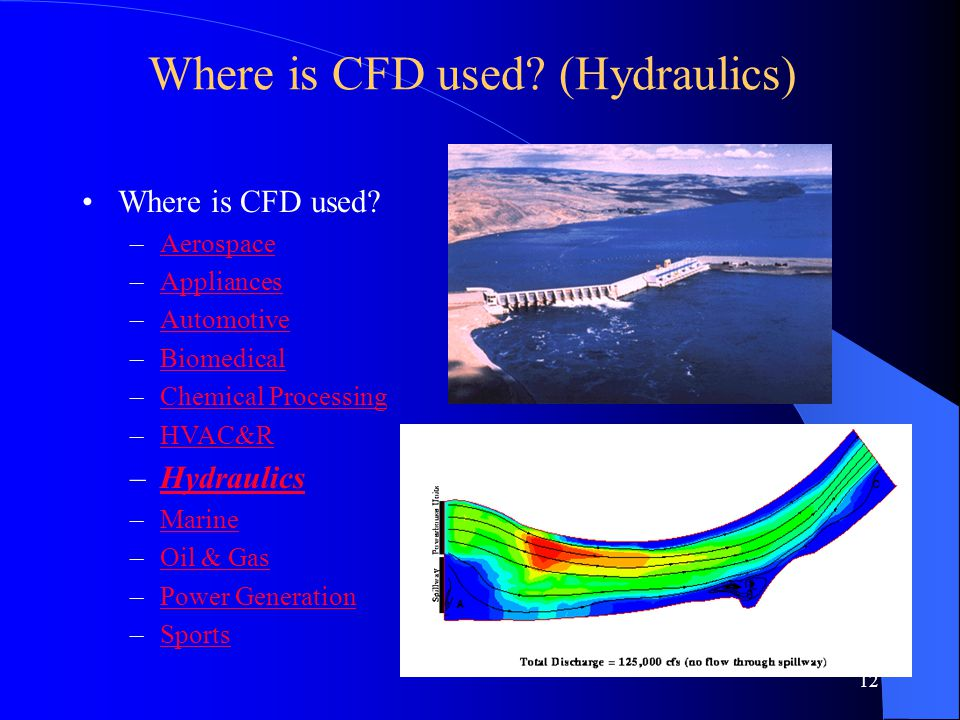 12 Where is CFD used? (Hydraulics) Where is CFD used? –AerospaceAerospace –AppliancesAppliances –AutomotiveAutomotive –BiomedicalBiomedical –Chemical