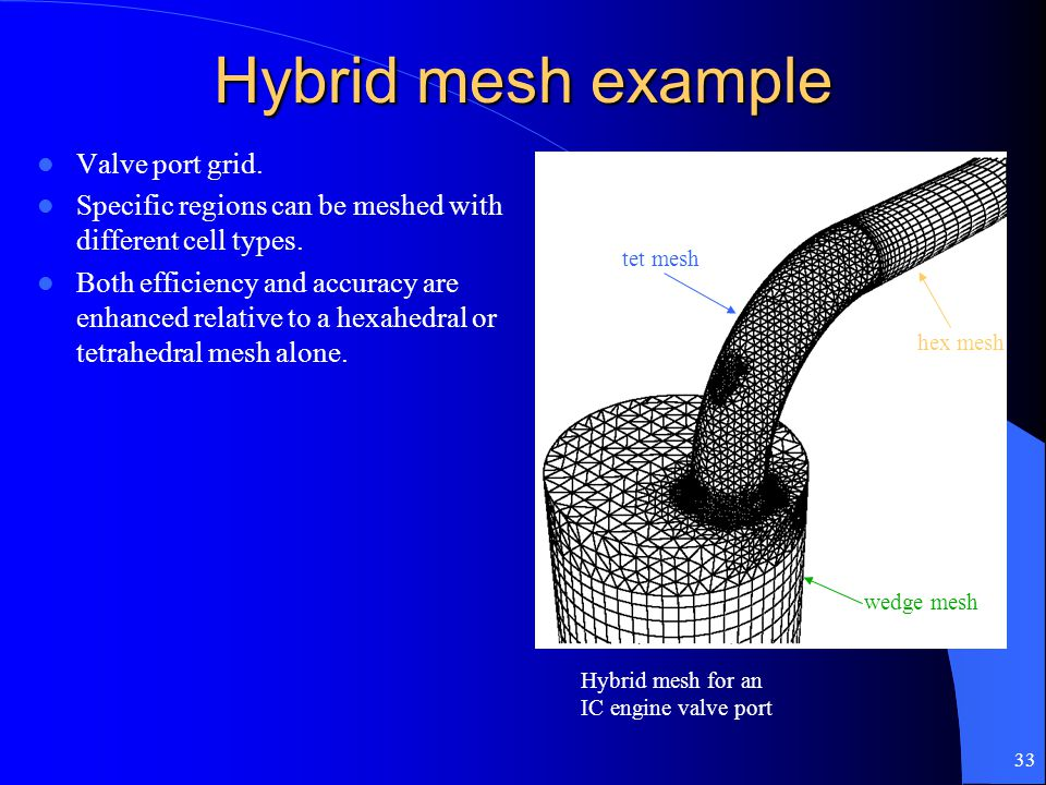 33 Hybrid mesh example Valve port grid. Specific regions can be meshed with different cell types. Both efficiency and accuracy are enhanced relative t