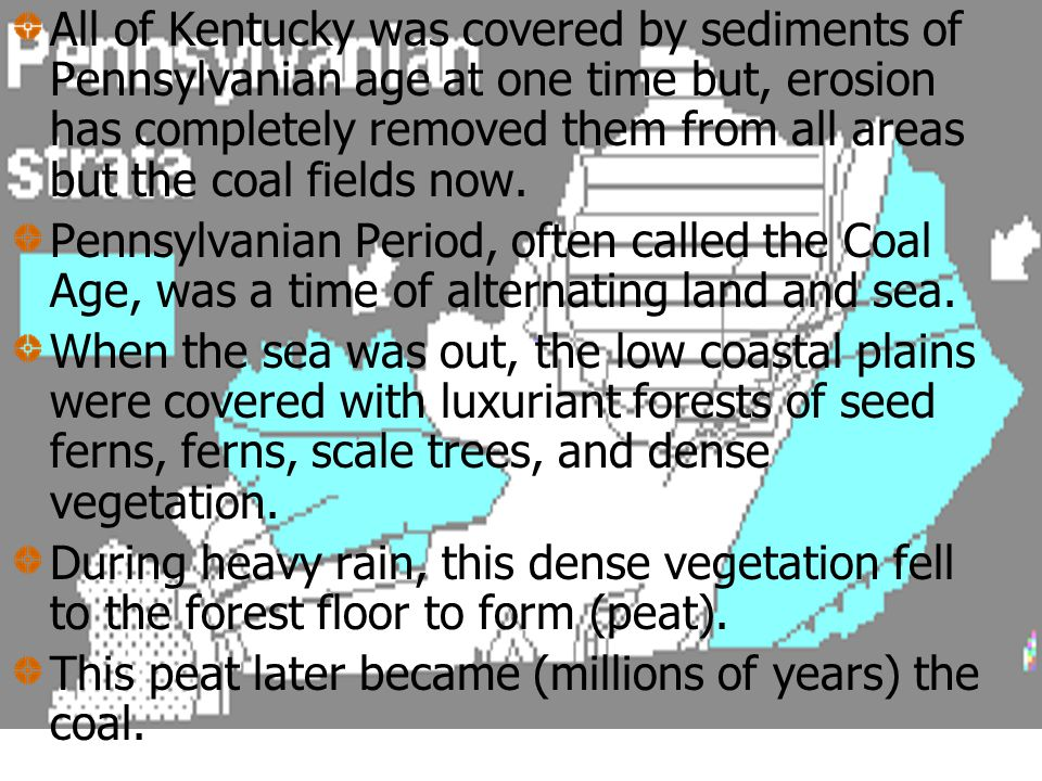 Pennsylvanian aged strata occur in Kentucky in 2 areas. Both shown as dark blue on the geologic maps we will use. The Pennsylvanian age in Kentucky is