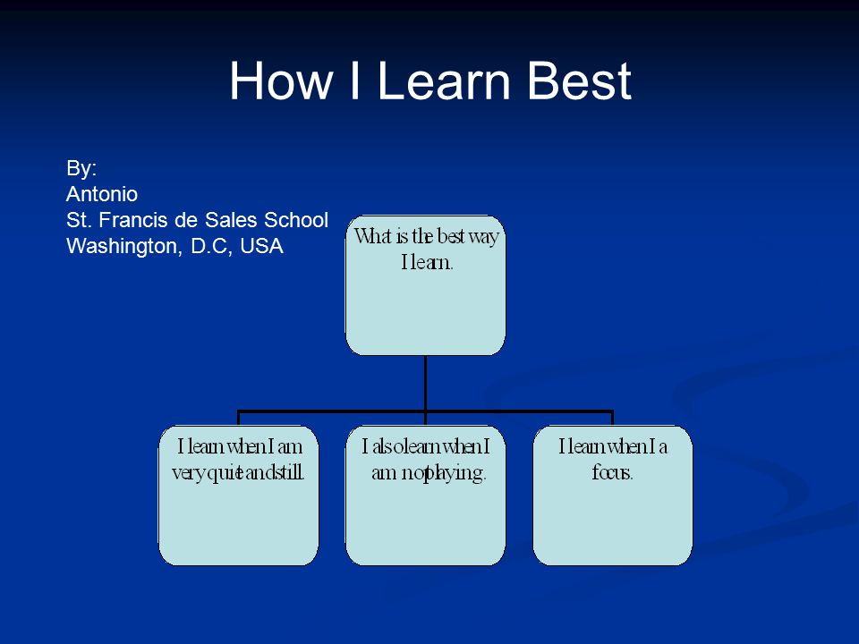 How I Learn Best By: Antonio St. Francis de Sales School Washington, D.C, USA