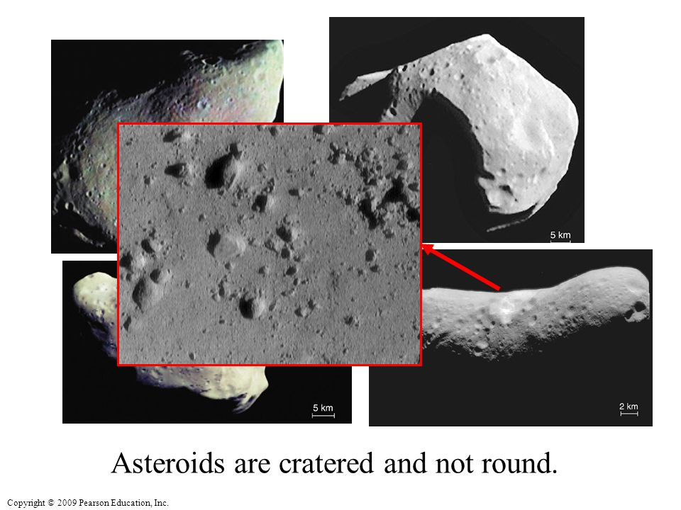 Copyright © 2009 Pearson Education, Inc. Asteroids are cratered and not round.