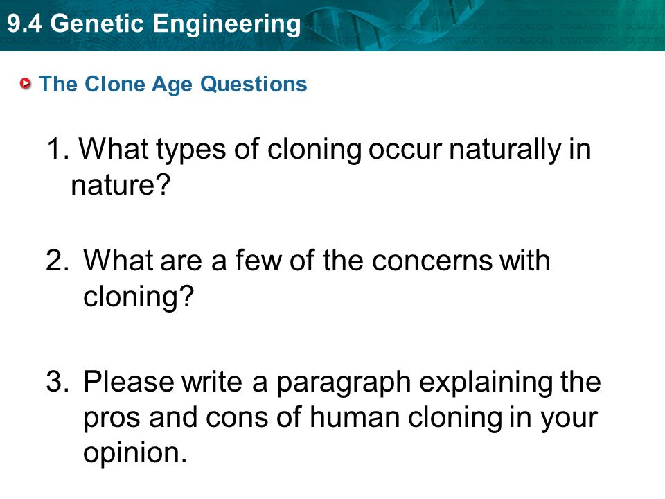 9.4 Genetic Engineering 1. What types of cloning occur naturally in nature? 2.What are a few of the concerns with cloning? 3.Please write a paragraph