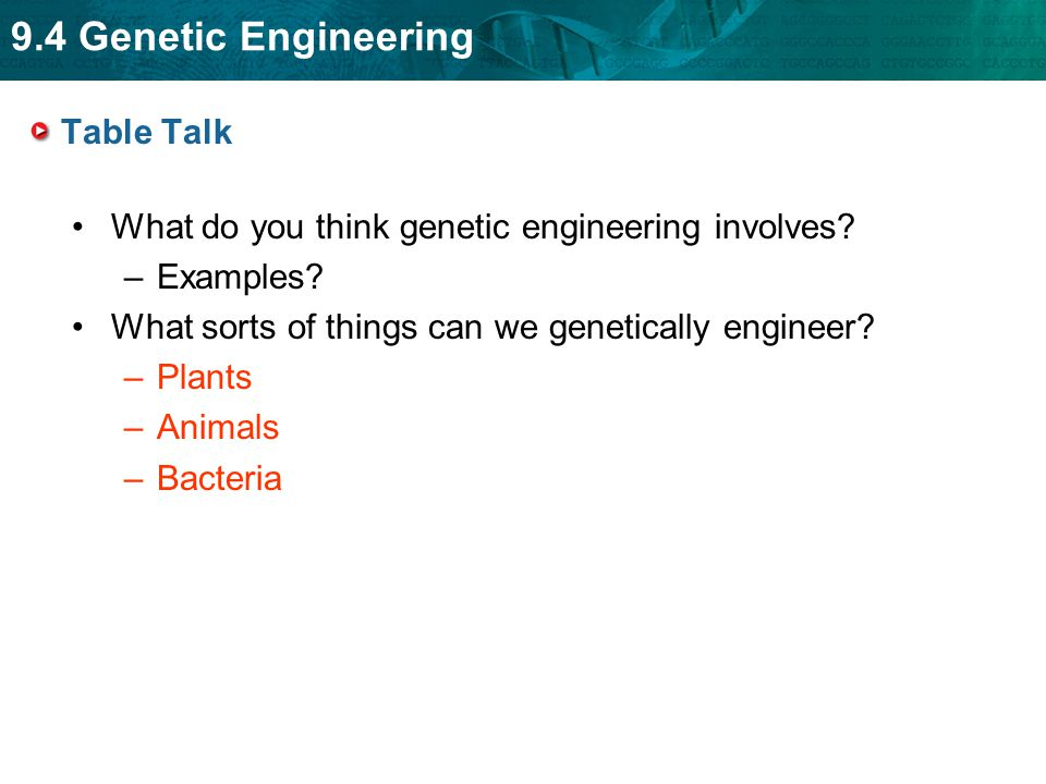9.4 Genetic Engineering Table Talk What do you think genetic engineering involves? –Examples? What sorts of things can we genetically engineer? –Plant