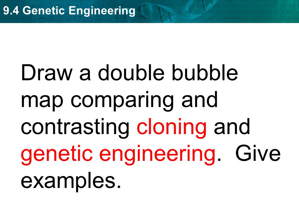 9.4 Genetic Engineering Draw a double bubble map comparing and contrasting cloning and genetic engineering. Give examples.
