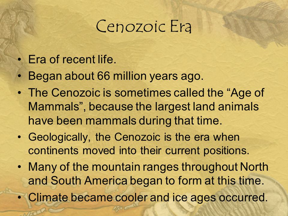 "Cenozoic Era Era of recent life. Began about 66 million years ago. The Cenozoic is sometimes called the ""Age of Mammals"", because the largest land ani"