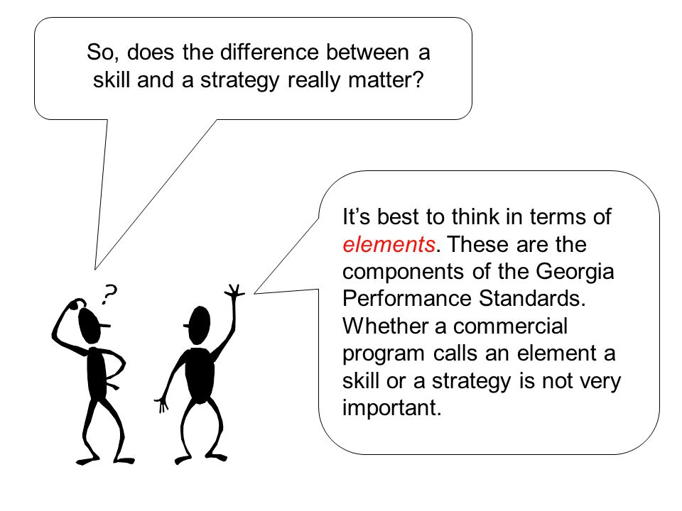 So, does the difference between a skill and a strategy really matter.