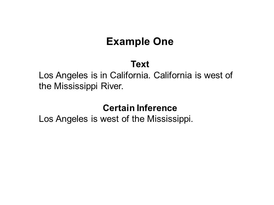 Example One Text Los Angeles is in California. California is west of the Mississippi River.