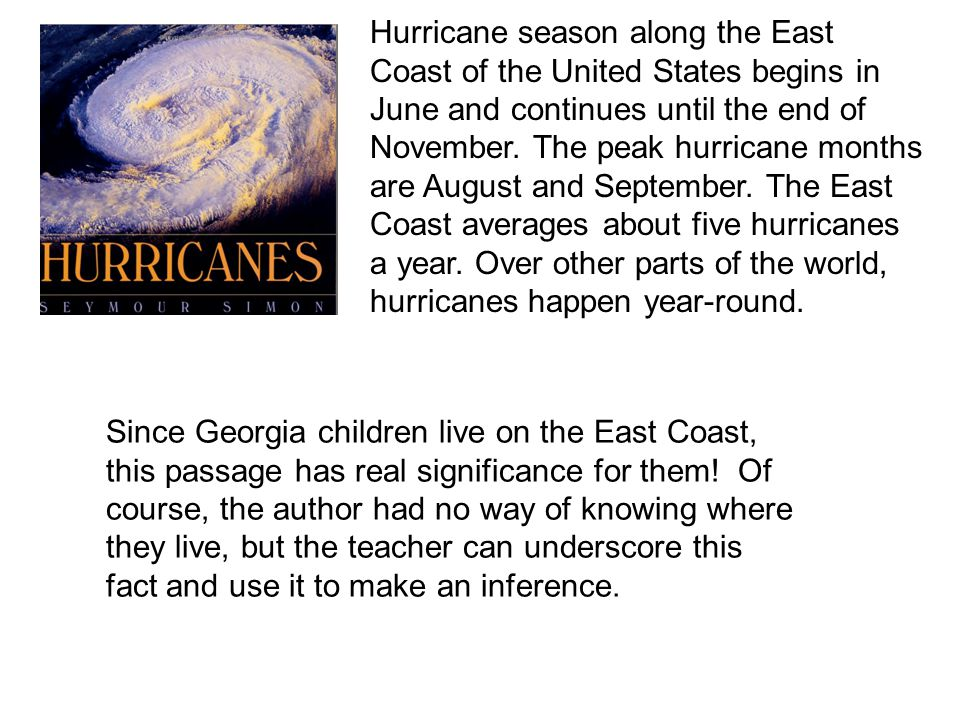 Hurricane season along the East Coast of the United States begins in June and continues until the end of November.