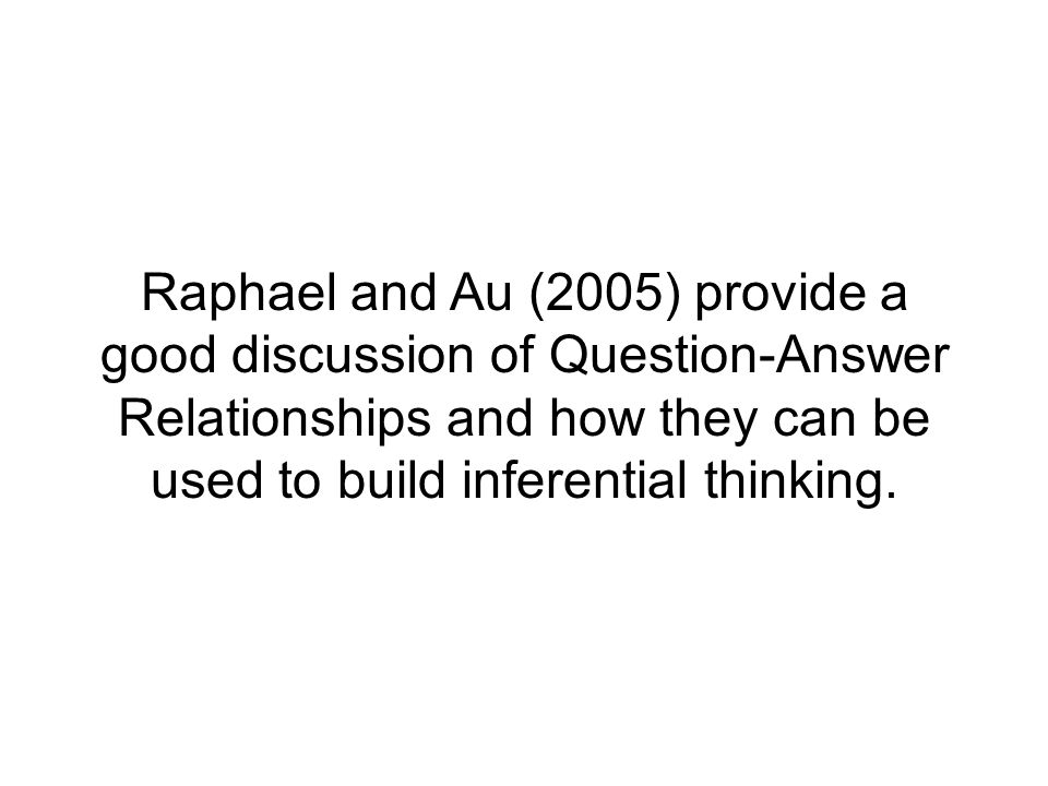 Raphael and Au (2005) provide a good discussion of Question-Answer Relationships and how they can be used to build inferential thinking.