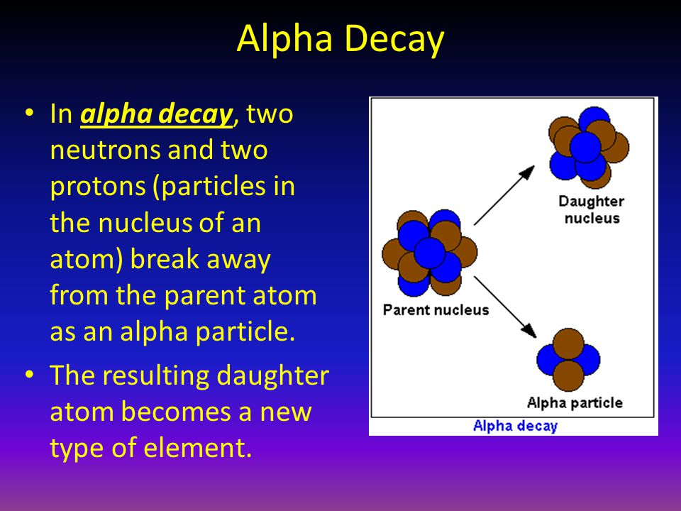 Alpha Decay In alpha decay, two neutrons and two protons (particles in the nucleus of an atom) break away from the parent atom as an alpha particle. T