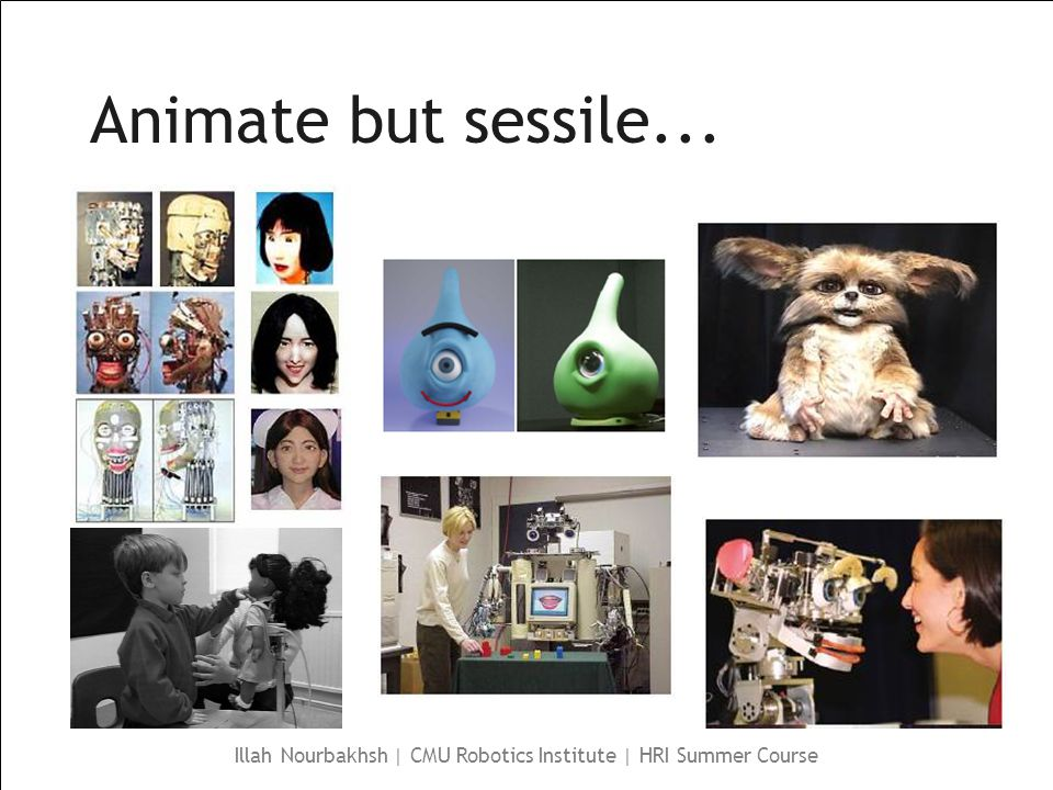 Illah Nourbakhsh | CMU Robotics Institute | HRI Summer Course Animate but sessile...