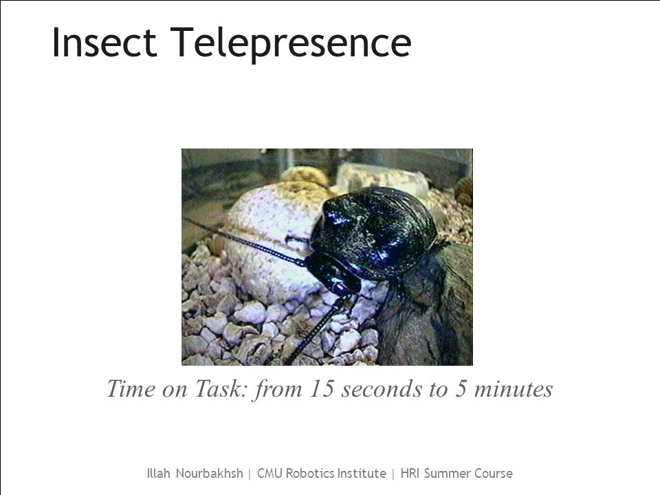 Illah Nourbakhsh | CMU Robotics Institute | HRI Summer Course Insect Telepresence Time on Task: from 15 seconds to 5 minutes