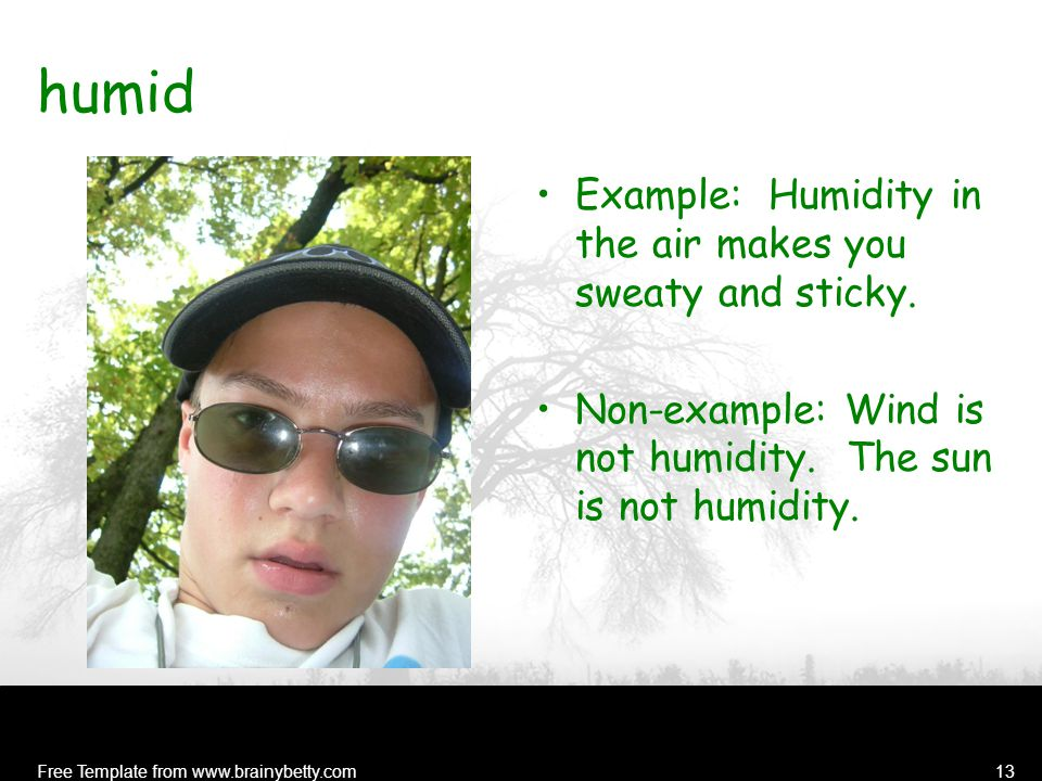 Free Template from www.brainybetty.com13 humid Example: Humidity in the air makes you sweaty and sticky.