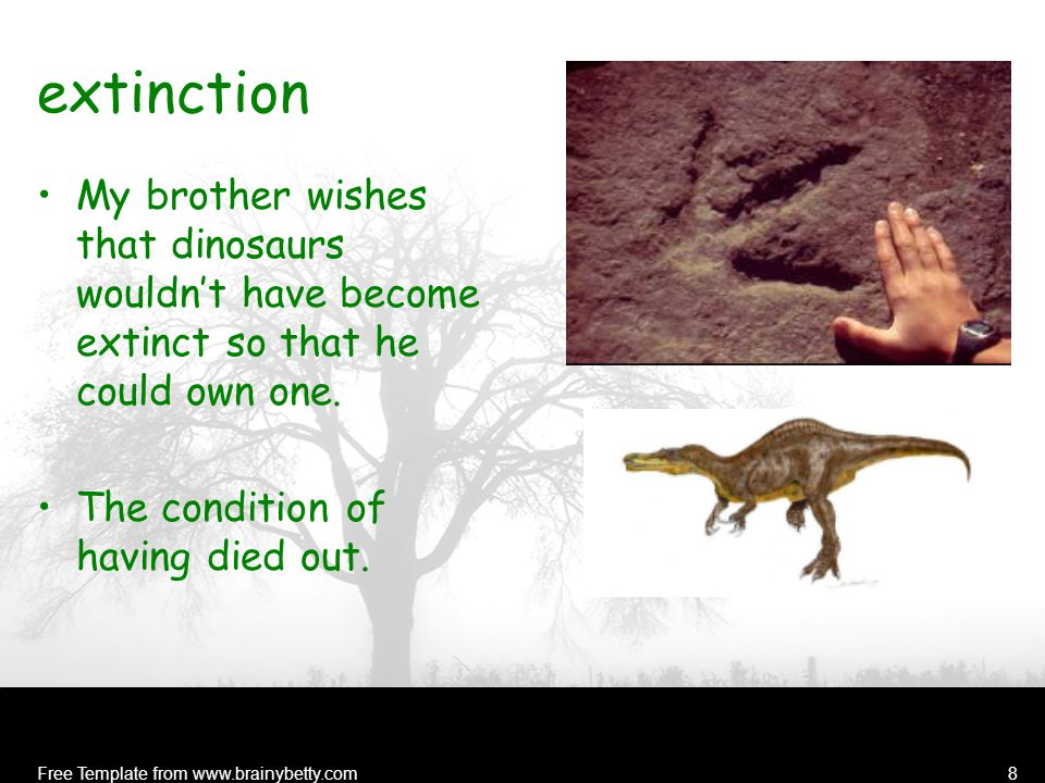 Free Template from www.brainybetty.com8 extinction My brother wishes that dinosaurs wouldn't have become extinct so that he could own one.