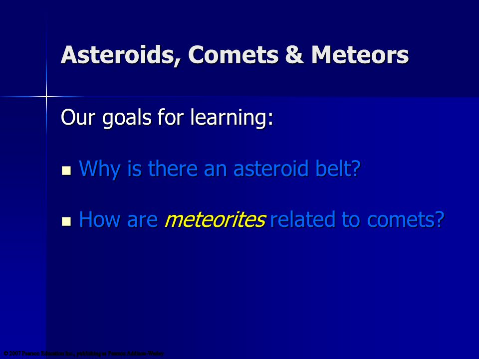 Comet Facts Formed beyond the frost line, comets are icy counterparts to asteroids.
