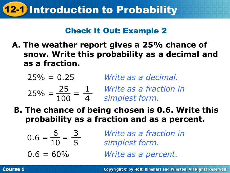 12-1 Introduction to Probability Course 1 Warm Up Warm Up Lesson ...