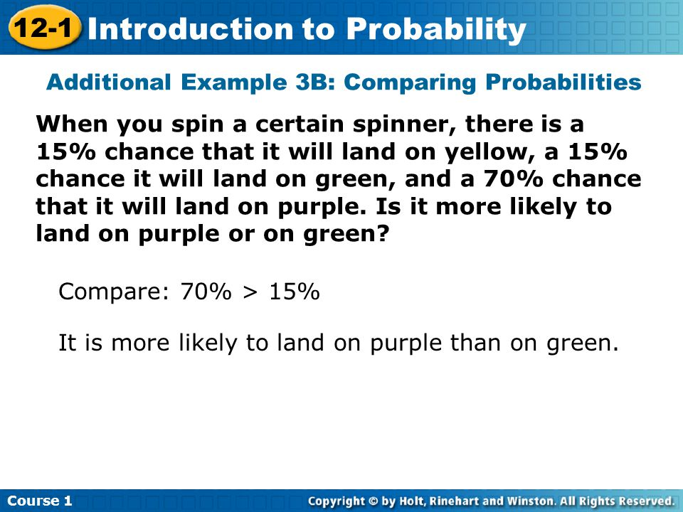 Insert Lesson Title Here Additional Example 3B: Comparing Probabilities When you spin a certain spinner, there is a 15% chance that it will land on yellow, a 15% chance it will land on green, and a 70% chance that it will land on purple.