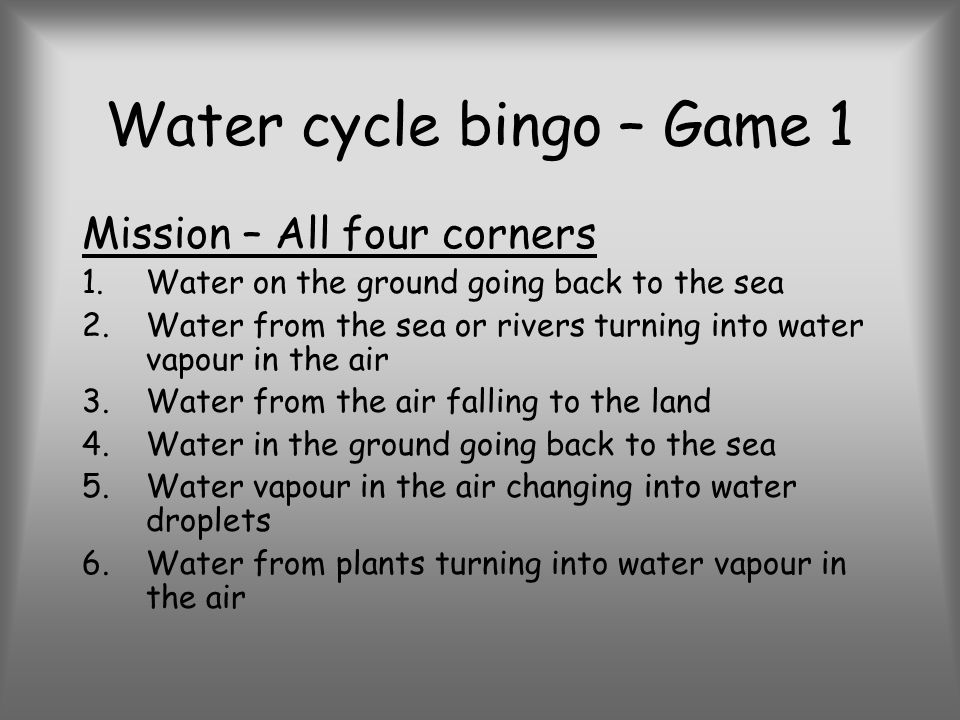 Water cycle bingo – Game 1 Mission – All four corners 1.Water on the ground going back to the sea 2.Water from the sea or rivers turning into water vapour in the air 3.Water from the air falling to the land 4.Water in the ground going back to the sea 5.Water vapour in the air changing into water droplets 6.Water from plants turning into water vapour in the air