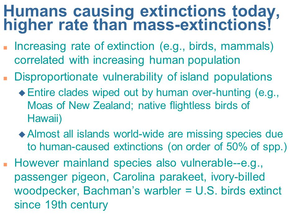 Humans causing extinctions today, higher rate than mass-extinctions.