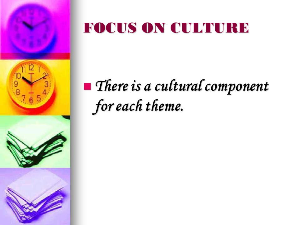 FOCUS ON CULTURE There is a cultural component for each theme.
