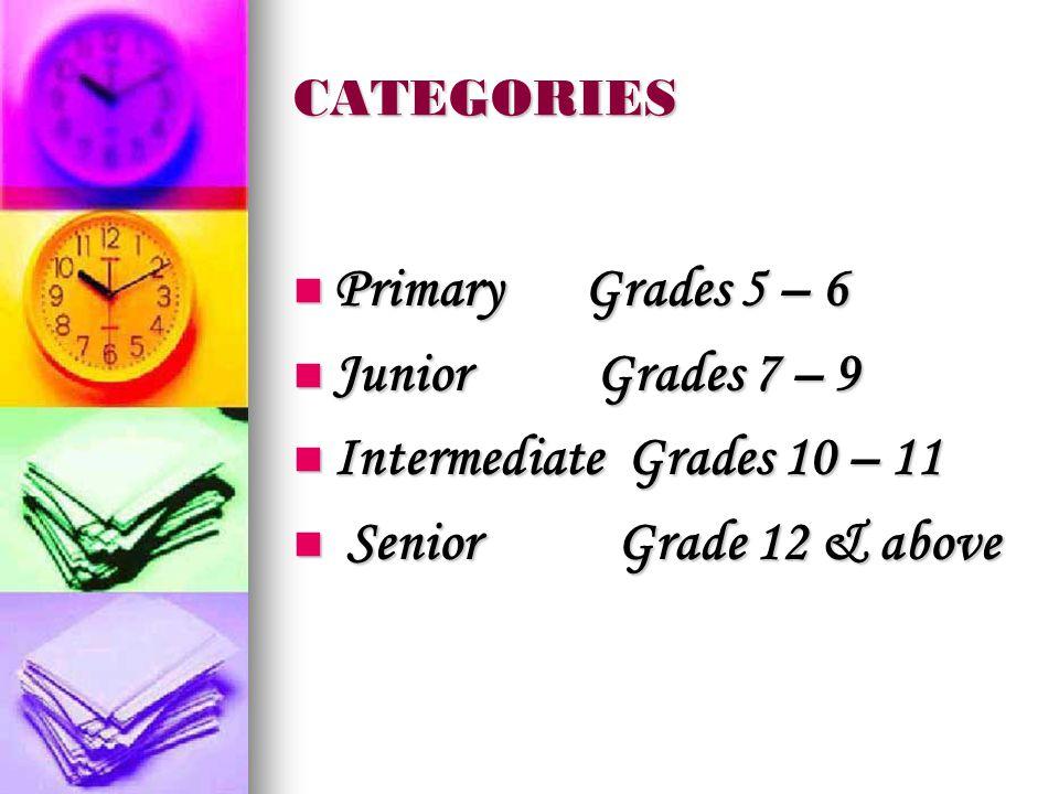 CATEGORIES Primary Grades 5 – 6 Primary Grades 5 – 6 Junior Grades 7 – 9 Junior Grades 7 – 9 Intermediate Grades 10 – 11 Intermediate Grades 10 – 11 Senior Grade 12 & above Senior Grade 12 & above