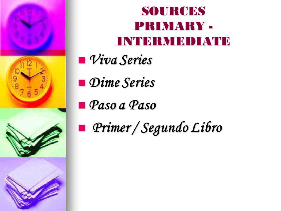 SOURCES PRIMARY - INTERMEDIATE Viva Series Viva Series Dime Series Dime Series Paso a Paso Paso a Paso Primer / Segundo Libro Primer / Segundo Libro