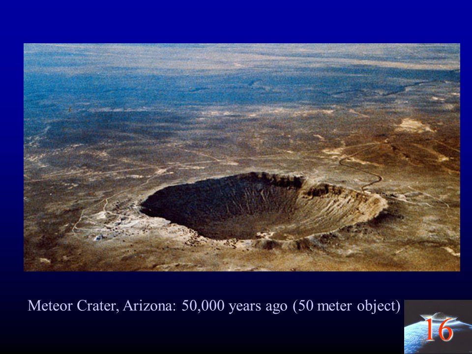 16 Meteor Crater, Arizona: 50,000 years ago (50 meter object)