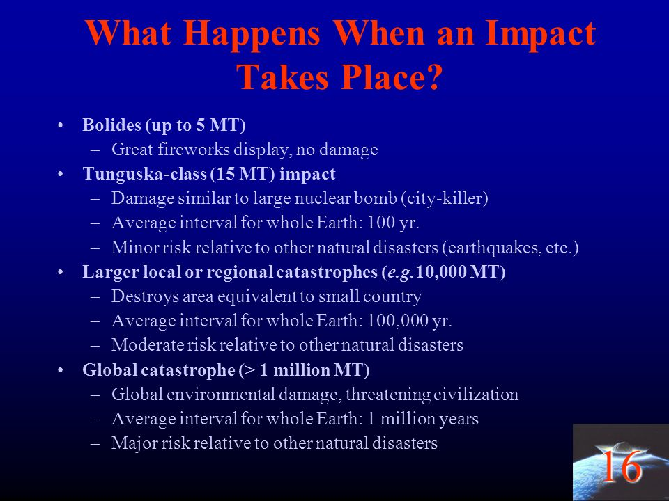 16 What Happens When an Impact Takes Place? Bolides (up to 5 MT) –Great fireworks display, no damage Tunguska-class (15 MT) impact –Damage similar to