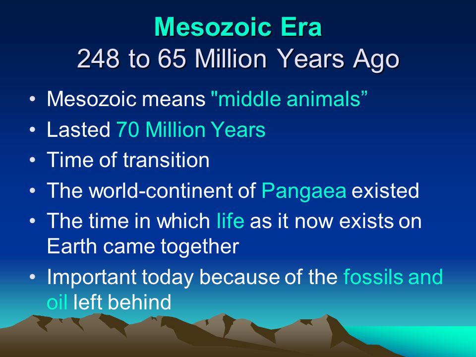 Mesozoic Era 248 to 65 Million Years Ago Mesozoic means