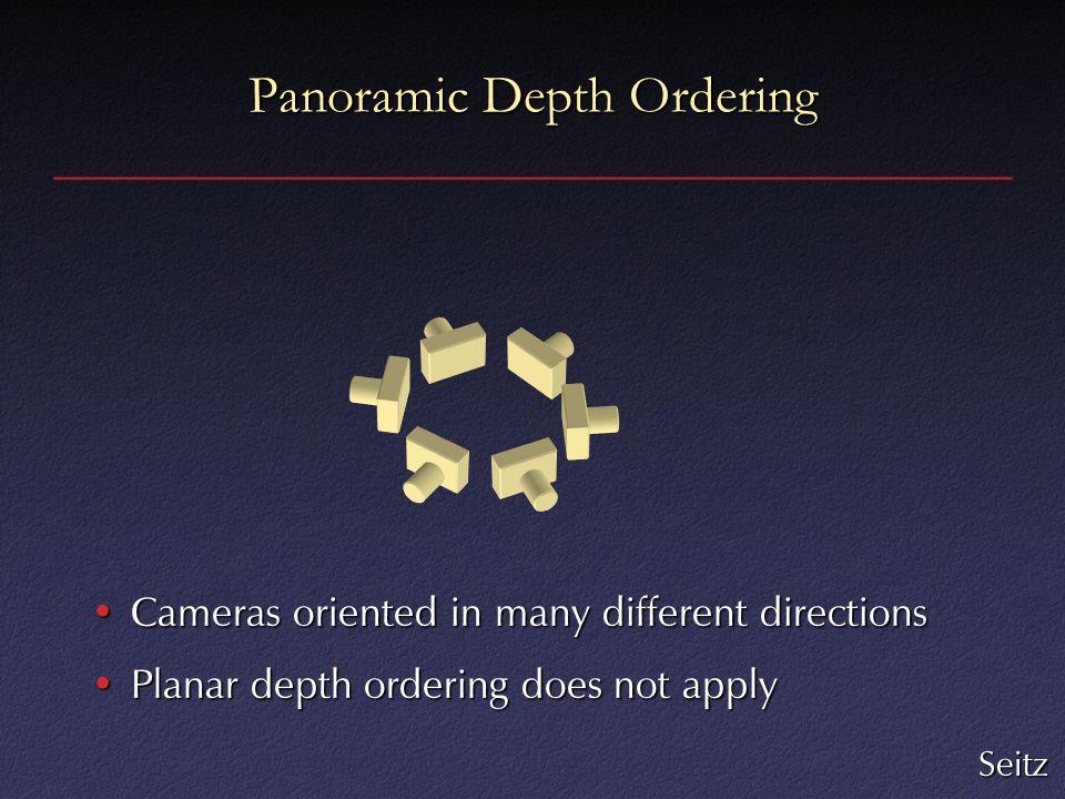 Panoramic Depth Ordering Cameras oriented in many different directionsCameras oriented in many different directions Planar depth ordering does not applyPlanar depth ordering does not apply Seitz