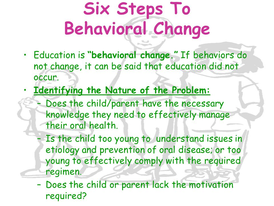 "Six Steps To Behavioral Change Education is ""behavioral change."" If behaviors do not change, it can be said that education did not occur. Identifying"