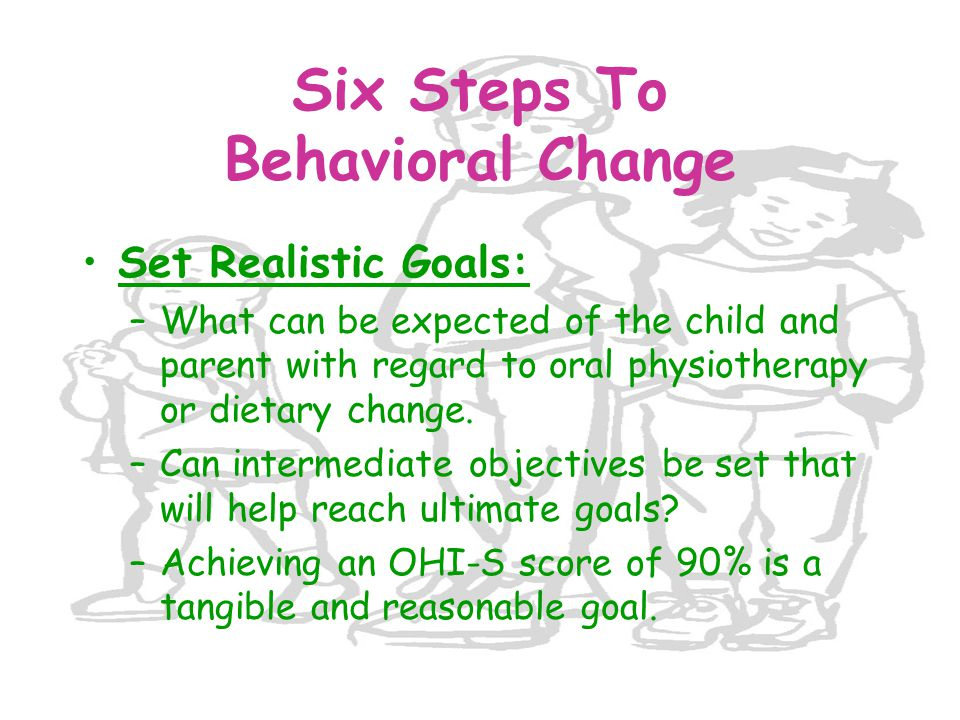 Set Realistic Goals: –What can be expected of the child and parent with regard to oral physiotherapy or dietary change. –Can intermediate objectives b